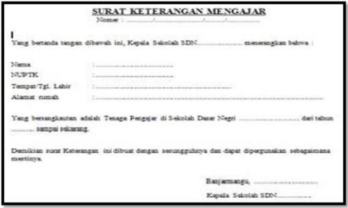 Download Contoh Surat Keterangan Mengajar Guru