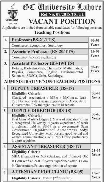 Advertisement for GC University Lahore Jobs