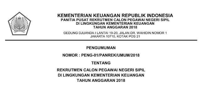 Rekrutmen CPNS Di Lingkungan Kementerian Keuangan Tahun 2018