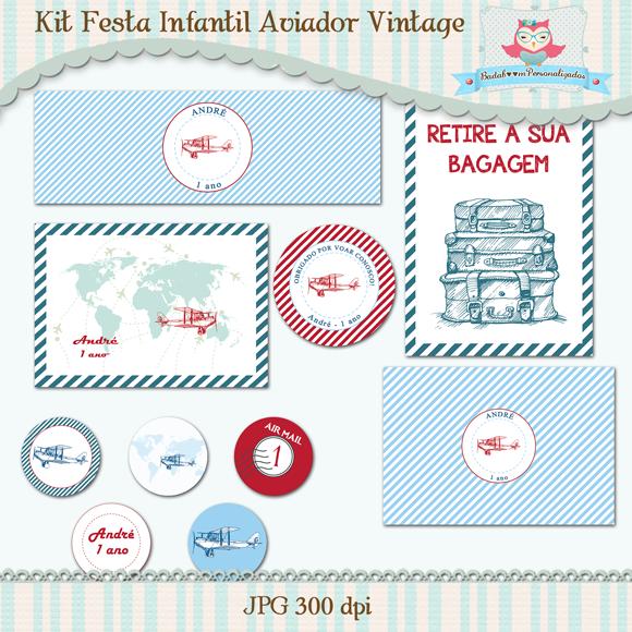 kit de artes digitais para festa infantil aviador vintage