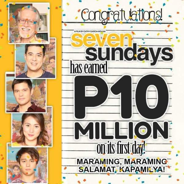 Seven Sundays earns P10M on its first day at the box office