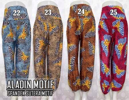 Model celana aladin spandek sutera motif terbaru 2015