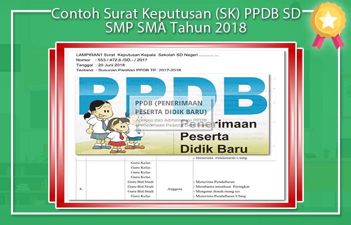 Contoh Surat Keputusan (SK) PPDB SD SMP SMA Tahun 2018