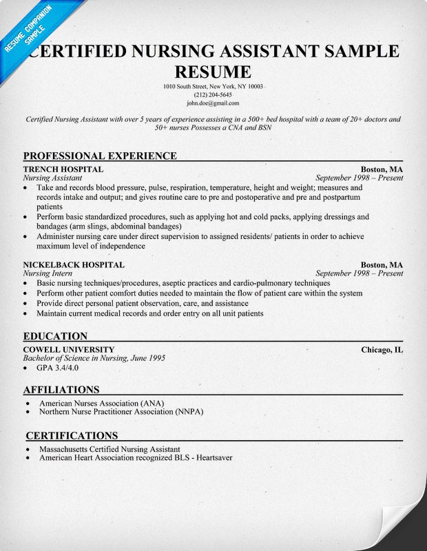 Resume Sample for Nursing Assistant Sample Resumes