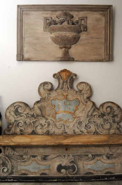 An Italian Renaissance Painted Cassapance And Antique Carved Panel In The Home Of Interior Designer Lars Bolander His Wife Nadine
