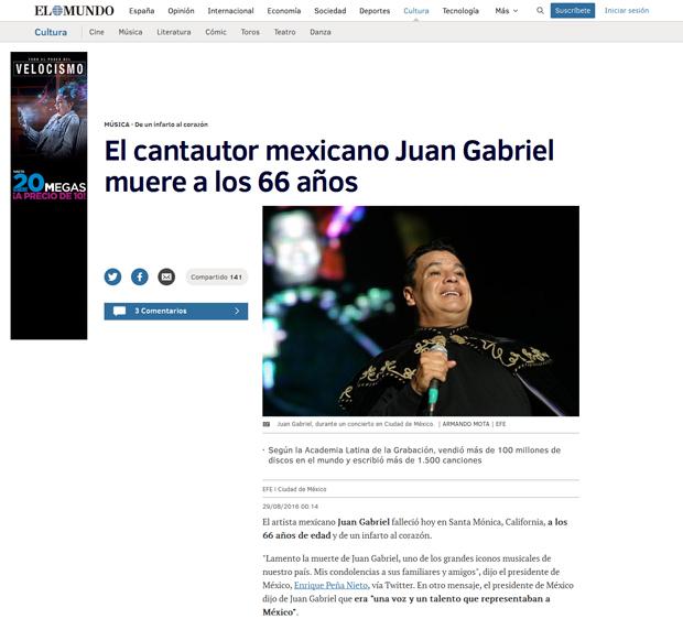Reacciones: el repentino fallecimiento de Juan Gabriel; las notas en diversos medios digitales   Ximinia