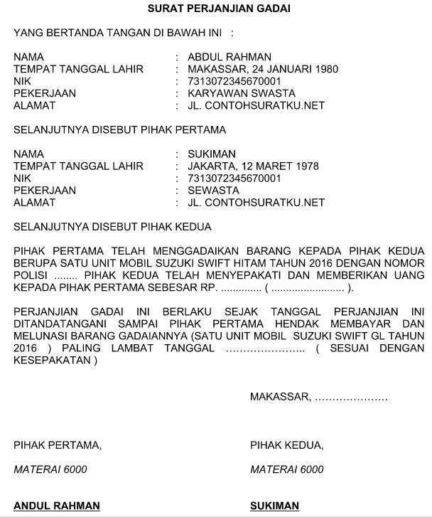 Contoh Surat Perjanjian Gadai Motor Tanpa Bpkb