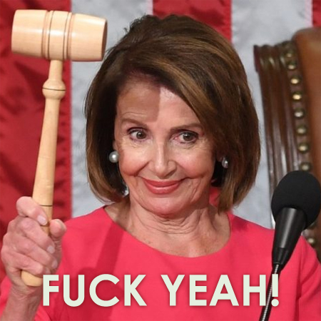 image of Nancy Pelosi holding the giant gavel after she reclaimed the speakership, to which I've added text reading: FUCK YEAH!