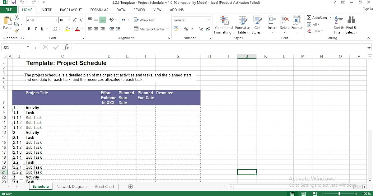 Project Schedule Excel Template Engineering Management