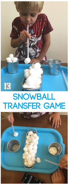 Snowball Kindergarten Games - this is a fun winter game and to help kids practice oral motor exercises (toddler, preschool too) #kindergartengames #snowballgames #wintergames #christmasgames #kidsactivities