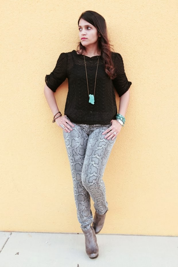 Joie Top, Michael Kors Jeans, Steve Madden Boots, Shop Jami Ring, Tanvii.com