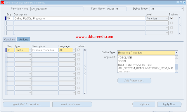 Form Personalization : Calling PL/SQL Procedure