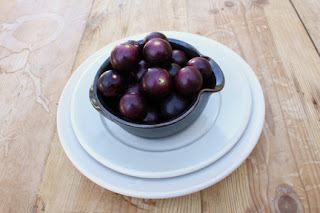 Bowl of black scuppernong grapes, native to the southern US