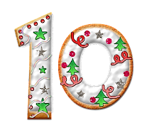 Number 10 graphic, decorated with icing, trees, stars and dots