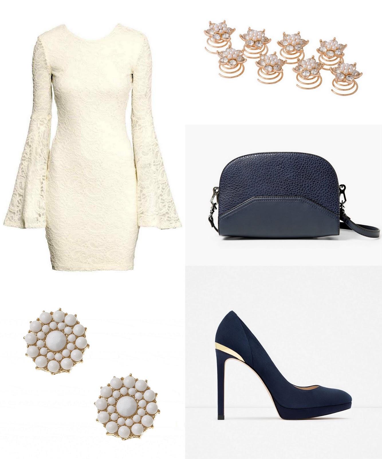 ef8d3d87fb Az utolsó fehér ruha egy tipikus alapruha, amihez kellenek a kiegészítők,  hogy lehengerlő hatást keltsen. A kék-fekete szandál és a csillogó  borítéktáska ...