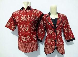 Gambar seragam batik pasangan untuk kerja di bank simpel elegan
