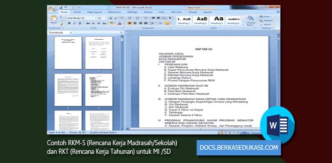 Contoh RKM-S dan RKT untuk MI dan SD Format Microsoft Word