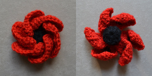 "LEFT: ""Hope Bloom"" by Jenny King before blocking. The six petals are curled inwards over themselves. RIGHT: ""Oriental Poppy"" by Lesley Stanfield before blocking. The six petals have curled inwards over themselves, looking like a windmill."