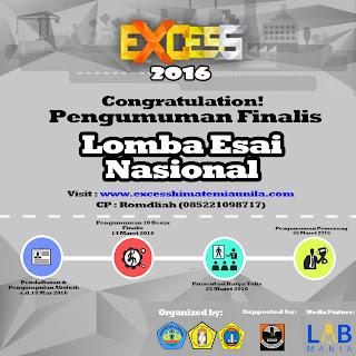 PENGUMUMAN 10 BESAR FINALIS LOMBA ESAI NASIONAL EXCESS 2016