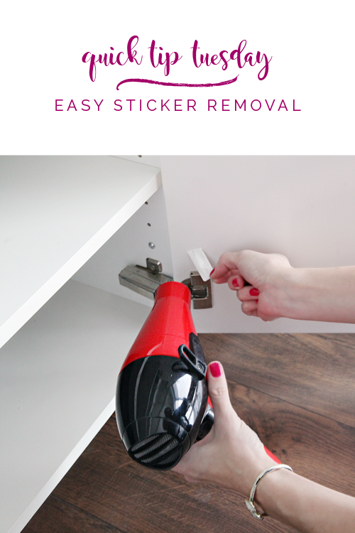 iheart organizing quick tip tuesday easy sticker removal. Black Bedroom Furniture Sets. Home Design Ideas