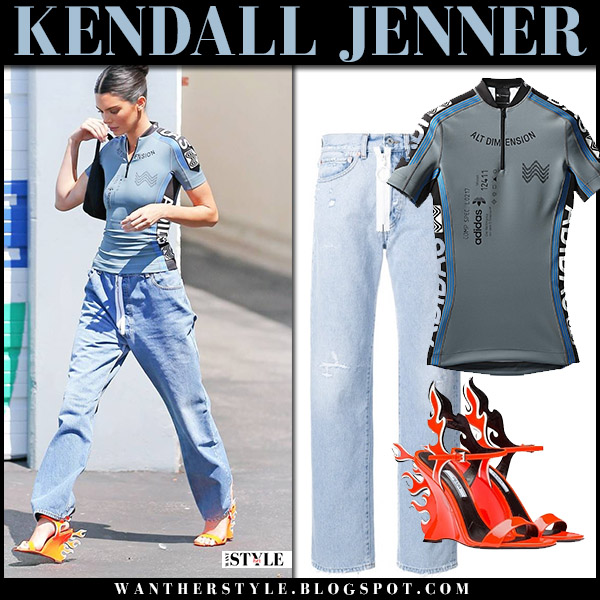 Kendall Jenner in grey top, off-white jeans and orange sandals prada model street style july 31