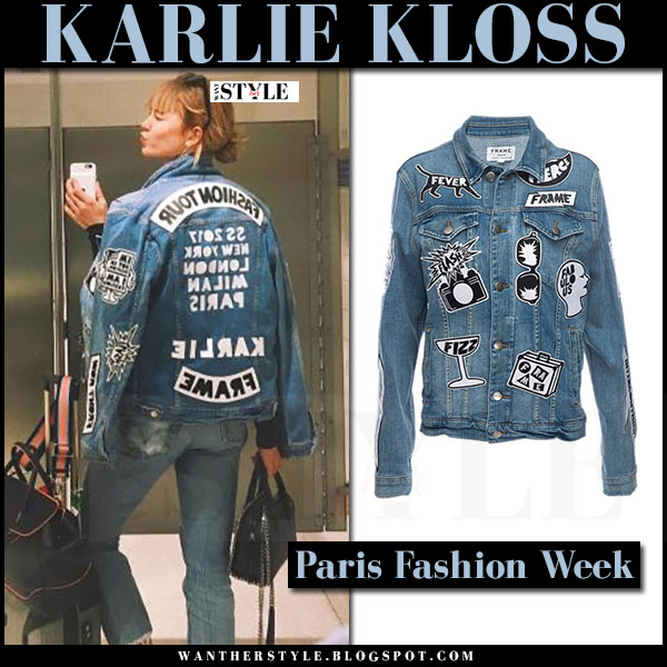 Karlie Kloss in denim jacket with patches frame denim what she wore