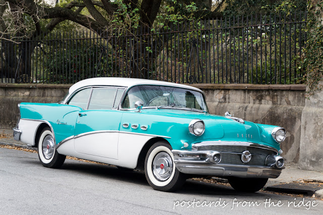 Old turquoise car spotted in Charleston. Postcards from the Ridge.