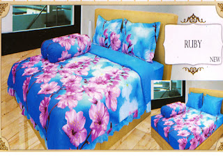 sprei lady rose motif Ruby