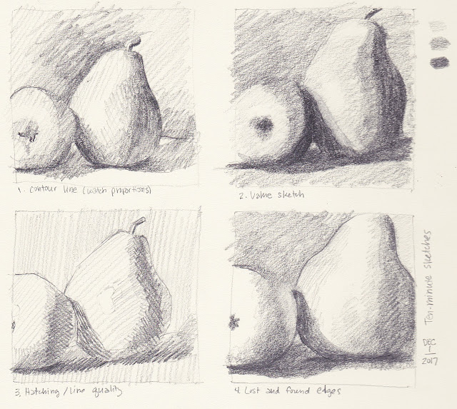 Daily Art 12-1-17 still life sketch in graphite number 46-49 - 10-minute pears