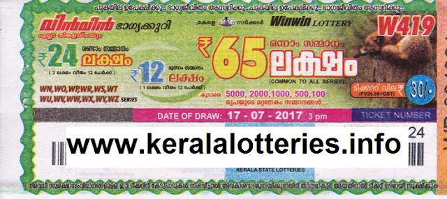 Kerala Lottery Winwin (W-419) on July16, 2017