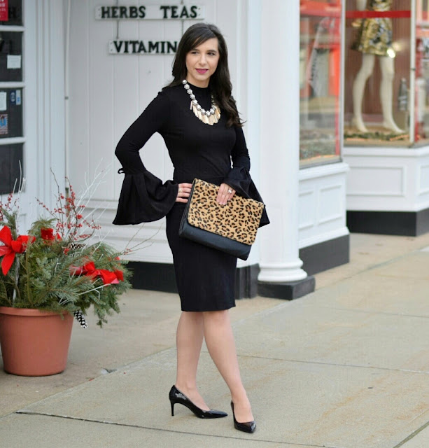 Black Pumps with Black Bell Sleeve Top