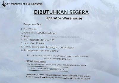 Lowongan Operator