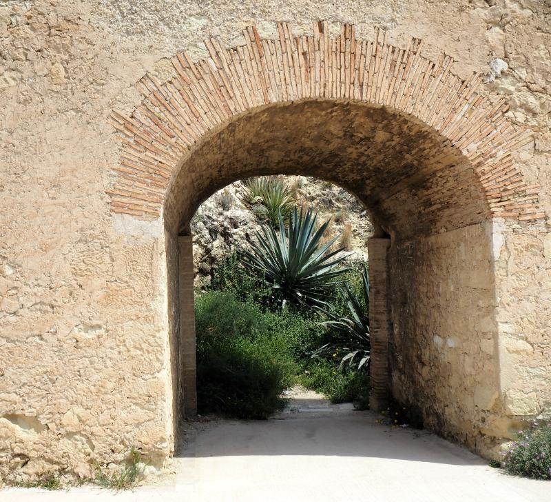 Doorway at Santa barbara castle in Alicante