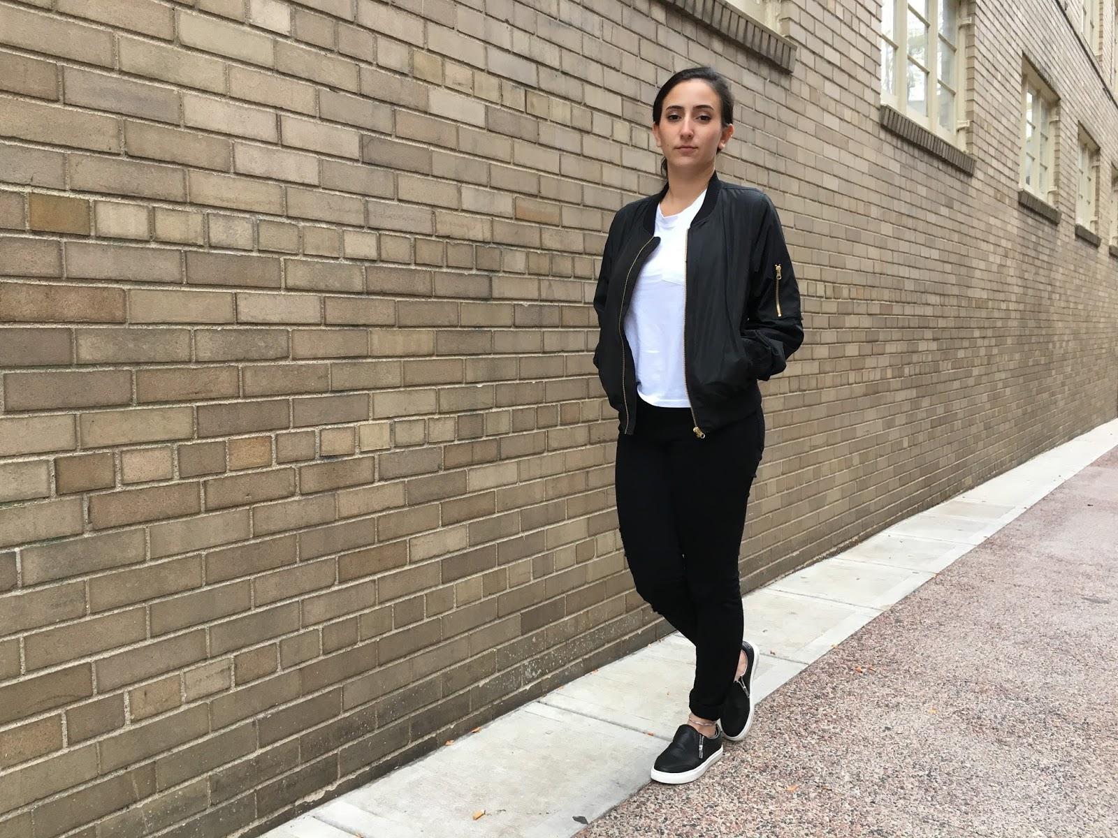 Black Bomber Jacket, Black Jeans, Black Sneakers