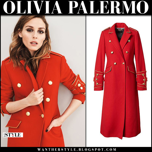 Olivia Palermo in red military coat Banana Republic fall fashion 2017