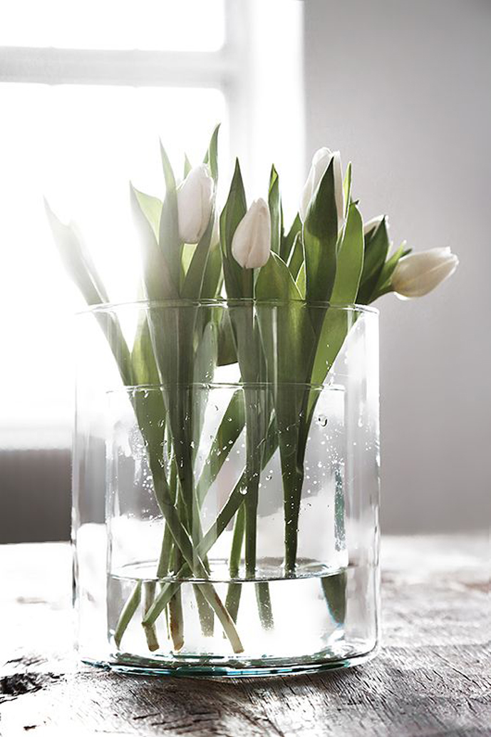 Spring green/white/grey mood board / white tulips via www.fashionedbylove.co.uk