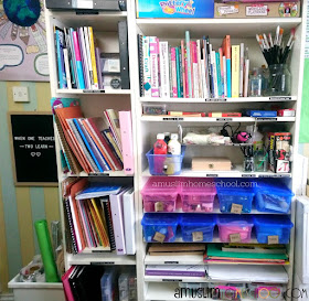 our homeschool art and craft supplies out on the shelves so the kids can easily get them