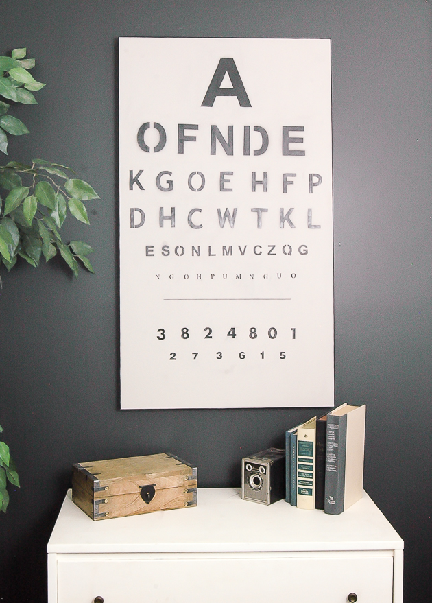 Trash to Treasure: old artwork turned vintage eye chart.