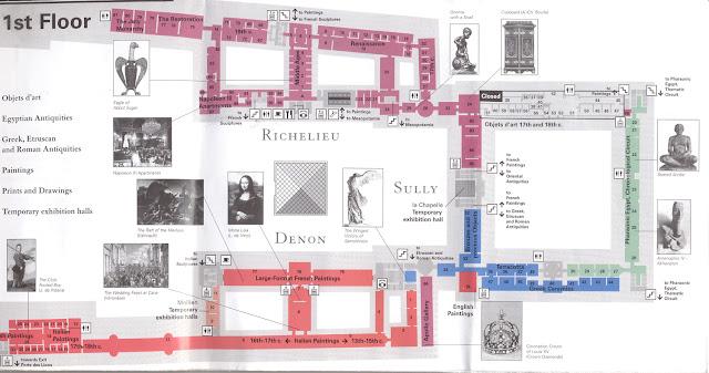 Mapa primeiro andar do Museu do Louvre