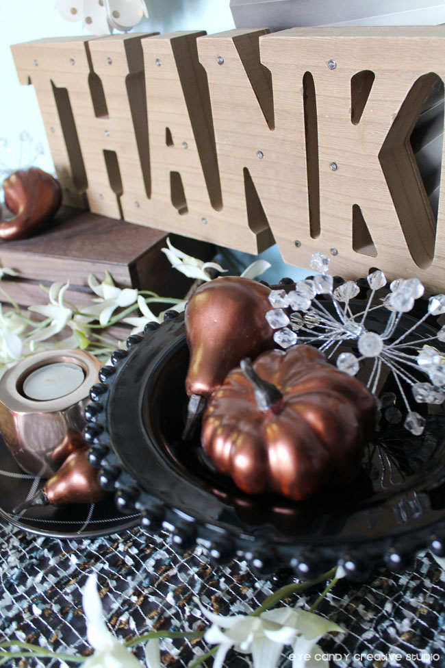 copper votive, copper painted pumpkins, cake stand, thankful sign