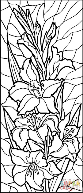 Stained Glass Lilies Coloring Page From Stained Glass Category Select From   Printable Crafts Of Cartoons Nature Animals Bible And Many More