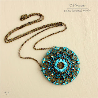 Wisiorek z filigranem, mandala,  filigree pendant