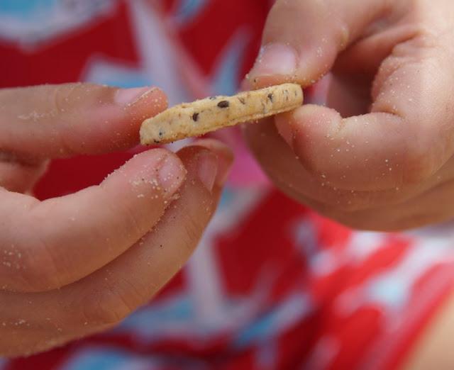 So macht Lernen Spaß: Ein Picknick mit Zahlenkeksen am Strand. Die Kekse in Bio-Qualität eignen sich super für ein Picknick.