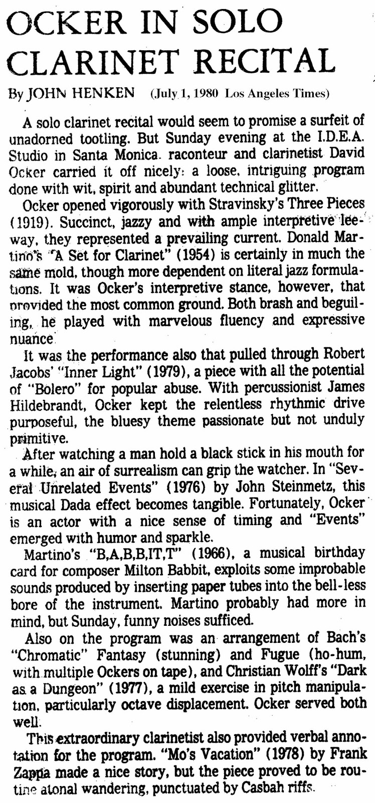1980 Los Angeles Times Review of David Ocker clarinetist