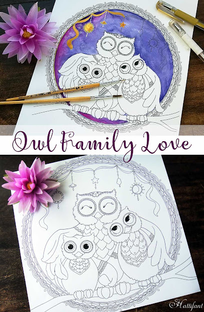 Hattifants Free Owl Family Love Coloring Page To Download