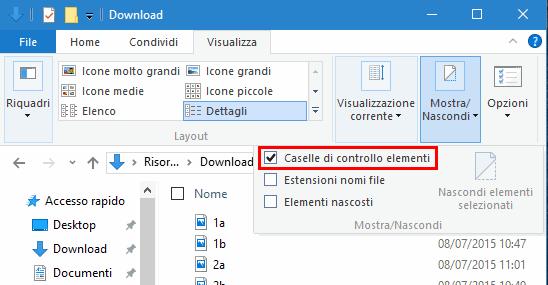 Attivare o disattivare caselle controllo file Windows 10