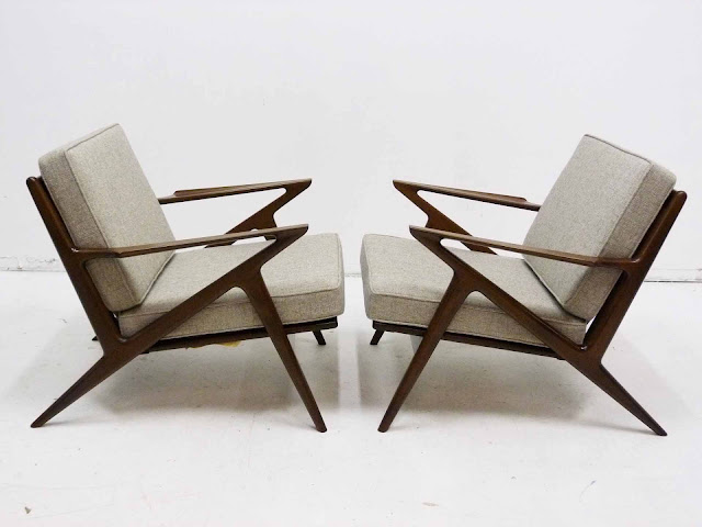 "Paul Jensen for Seilg Mid Century Danish Modern ""Z"" Lounge Chairs"