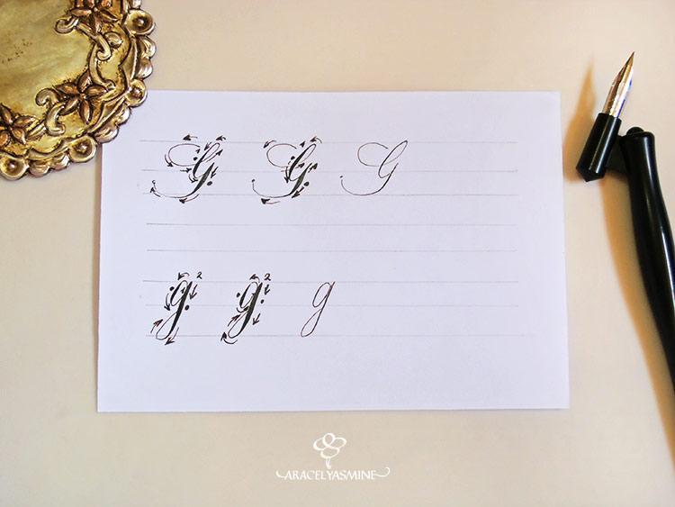 caligrafia copperplate como escribir letra g alfabeto