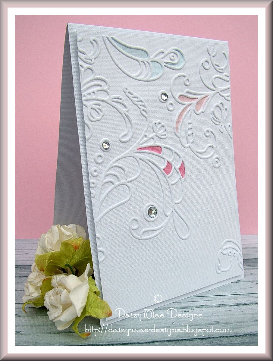 White, swirls, Stampin Up, Embossing, Sizzix