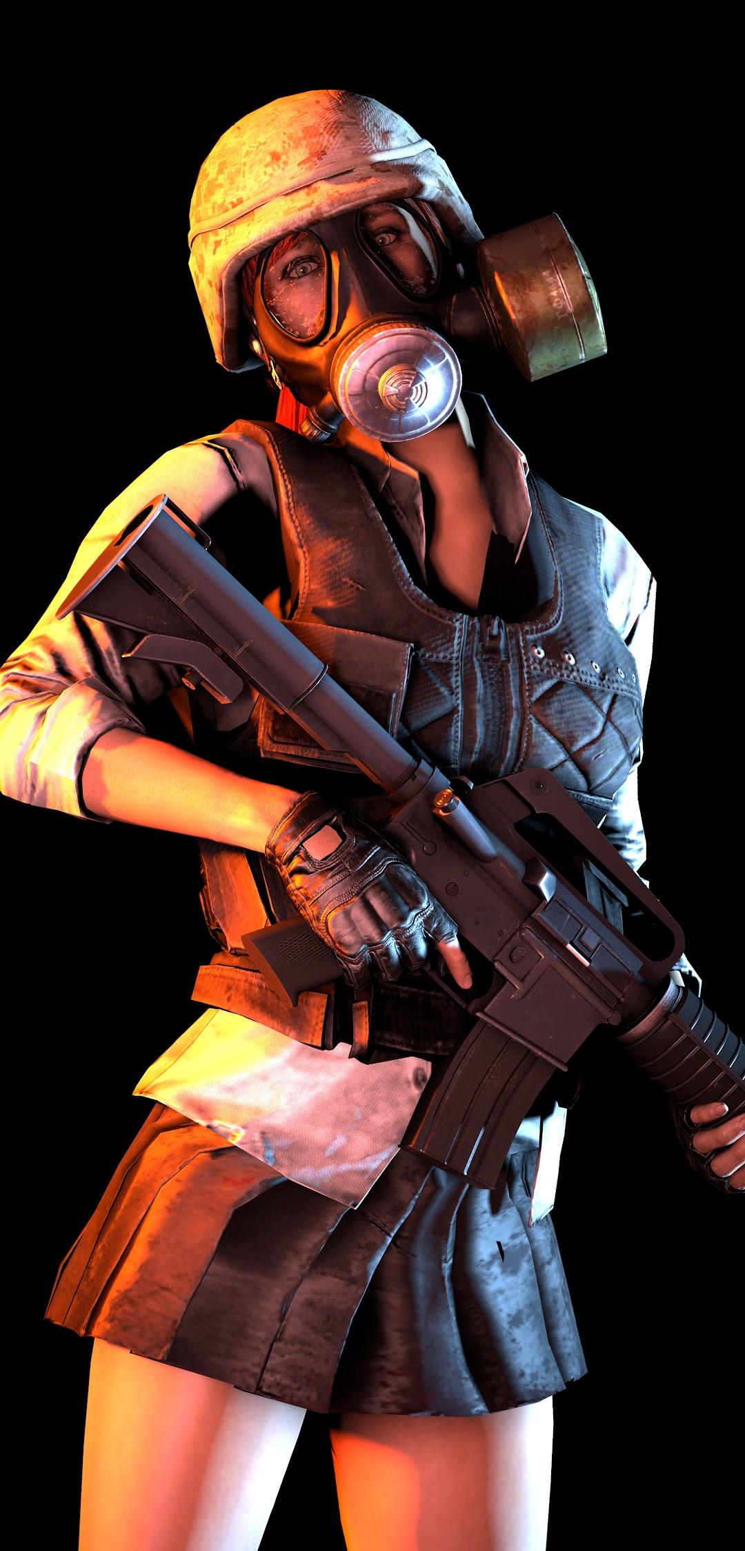 PUBG Girl Gas Mask Rifle PlayerUnknown's Battlegrounds 8K Wallpaper #2